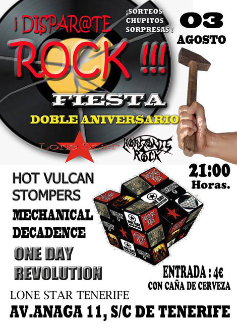 Cartel Disparate Rock en Tenerife.Horizonte Rock + Lone Star