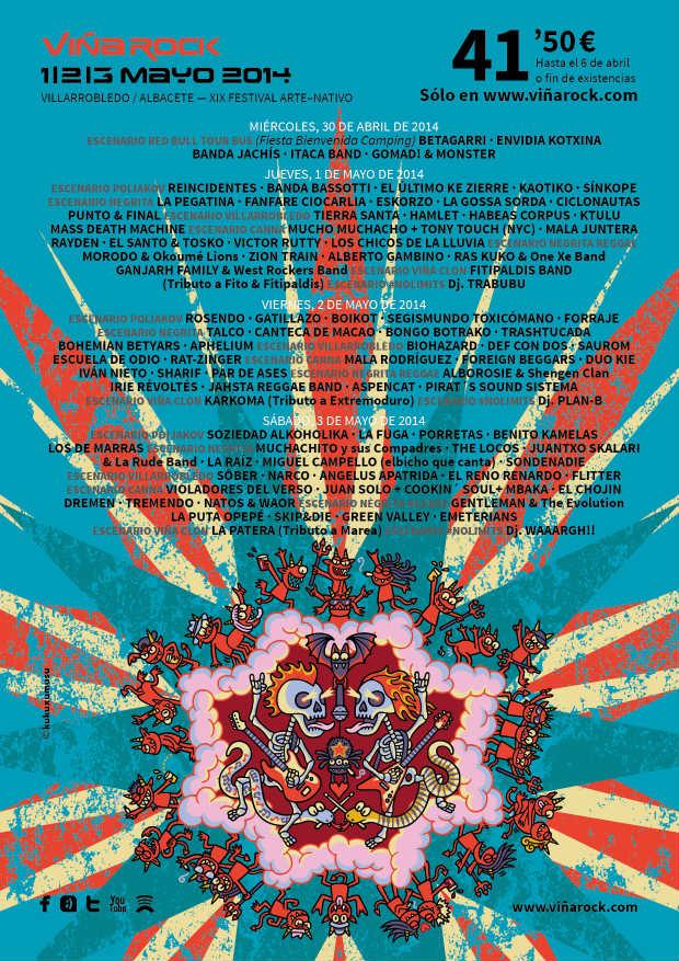 Cartel por dia Viña Rock 2014